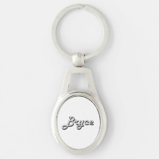 Bryce Classic Retro Name Design Silver-Colored Oval Metal Keychain