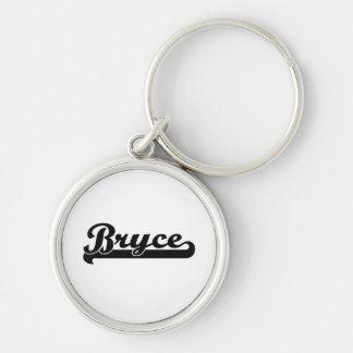 Bryce Classic Retro Name Design Silver-Colored Round Keychain