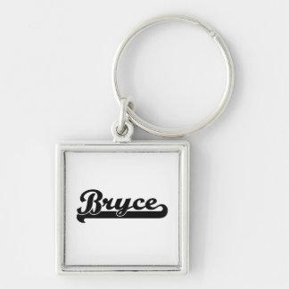 Bryce Classic Retro Name Design Silver-Colored Square Keychain