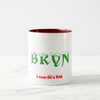 BRYN, It means Hill in Welsh Two-Tone Coffee Mug