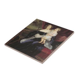 Bryullov-Retrato de Karl de la condesa y de su hij Azulejo Ceramica