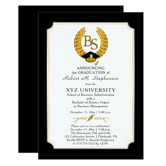 Bs Bachelor Of Science Degree College Graduation Invitation