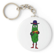 BS- Funny Pickle Playing Harmonica Cartoon Keychain