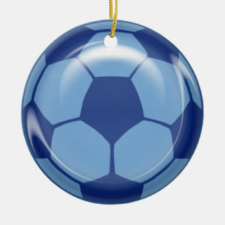 BSB BLUE SOCCER BALL SPORTS ATHLETES LEAGUE TEAM I CERAMIC ORNAMENT
