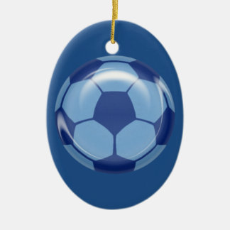 BSB BLUE SOCCER BALL SPORTS ATHLETES LEAGUE TEAM I Double-Sided OVAL CERAMIC CHRISTMAS ORNAMENT
