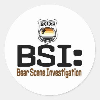 BSI:  Investigación de la escena del oso Pegatina Redonda