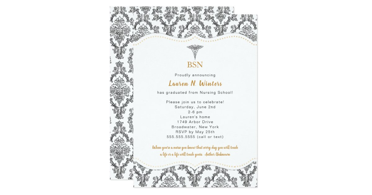 BSN Black with Gold accents graduation party, RN