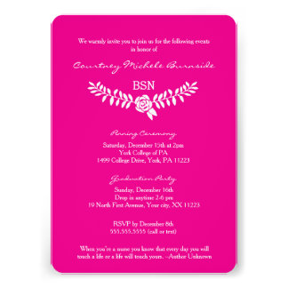 BSN graduation / RN LPN nurse hot pink invites