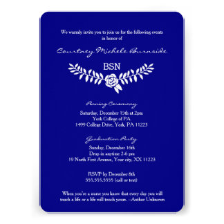 BSN graduation / RN RDH nurse pinning ceremony Custom Invite