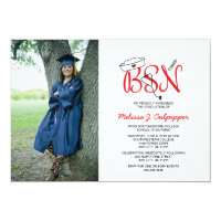 BSN Nurse photo graduation pinning party / red Card