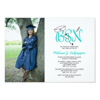 BSN Nurse photo graduation pinning party / teal Card