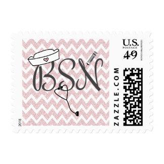 BSN nurse postage stamp pink glitter chevron