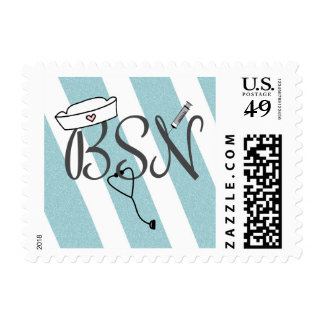 BSN nurse postage stamp teal glitter chevron