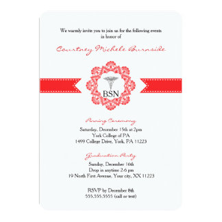 BSN RN graduation / pinning ceremony / red 5x7 Paper Invitation Card