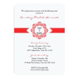 Graduation ceremony invitations announcements zazzle bsn rn graduation pinning ceremony red invitation filmwisefo