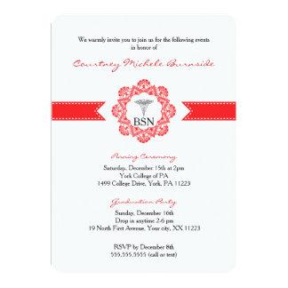"BSN RN graduation / pinning ceremony / red 5"" X 7"" Invitation Card"