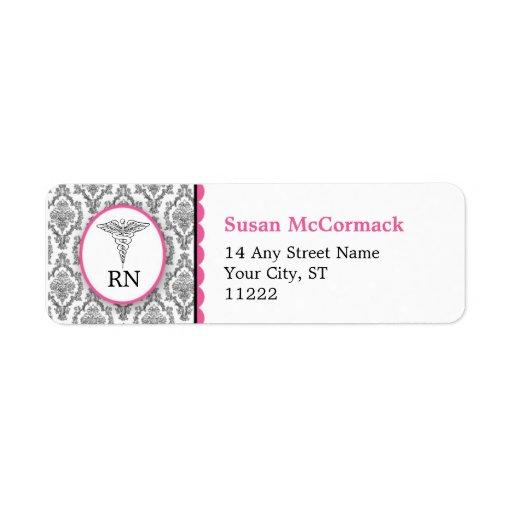 BSN RN LPN Damask Caduceus Black Hot pink Custom Return Address Label