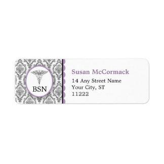 BSN RN LPN Damask Caduceus Black Lavender Label