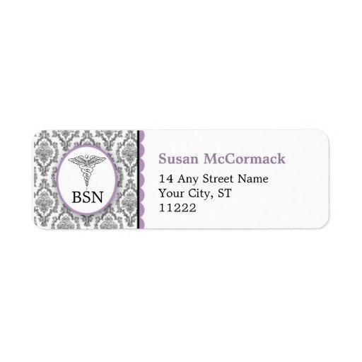 BSN RN LPN Damask Caduceus Black Lavender Custom Return Address Labels