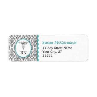BSN RN LPN Damask Caduceus Black Turquoise Label