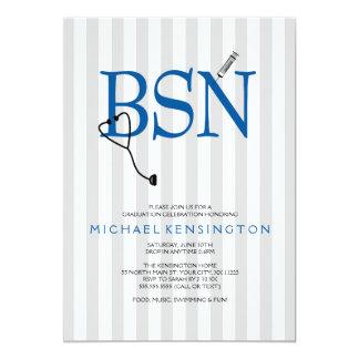 BSN RN nurse graduation invites / GREY STRIPES