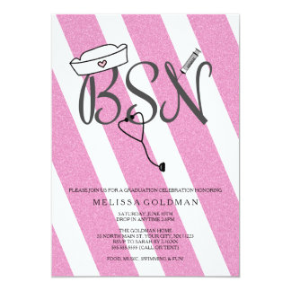BSN RN nurse graduation invites hot pink glitter