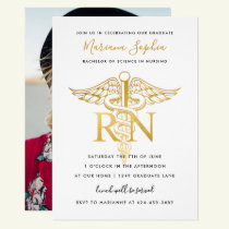 BSN RN Nurse Graduation Party Announcement Gold
