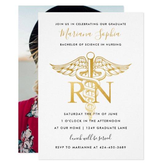 bsn rn nurse graduation party announcement gold zazzle com
