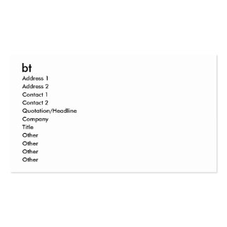 bt, Address 1, Address 2, Contact 1, Contact 2,... Business Card