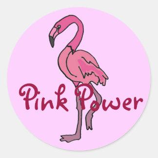 BT flamenco rosado Sickers del poder Pegatina Redonda
