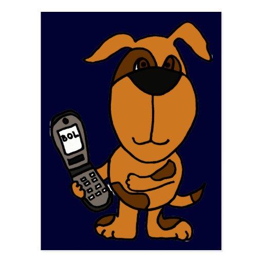 BT- Funny Cartoon Dog Texting Postcard