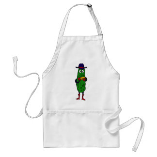 BT- Funny Pickle Playing Harmonica Cartoon Adult Apron