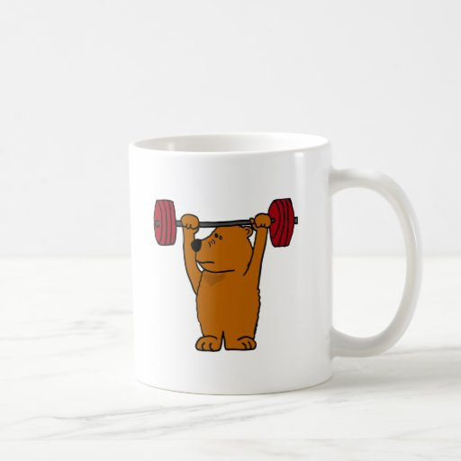 BT levantamiento de pesas divertido del oso de Bro Tazas De Café