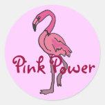 BT- Pink Power Flamingo Sickers Round Stickers