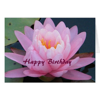 BT- Pink Water Lily Birthday Card