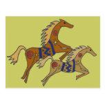 BT postal galopante artística de los caballos