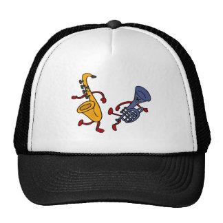 BT- Saxophone and Trumpet Dancing Cartoon Trucker Hat