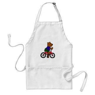 BU- Bear Bicycling Cartoon Adult Apron