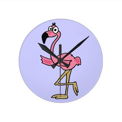 BU- Funny Flamingo Wall Clock