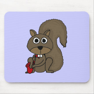 BU- Funny Squirrel Playing the Saxophone Mouse Pad