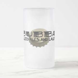 Bubba and Beer Bottle Cap Frosted Glass Beer Mug