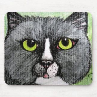 Bubba Dash the Black Cat with Green Eyes Mousepad
