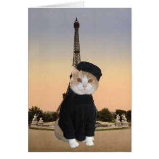 Bubba Kitty in Paris Card