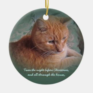 Bubba the Orange Tabby Tomcat Christmas Ornament