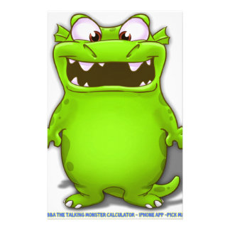 Bubba the Talking Calculaotr Monster Stationery Paper