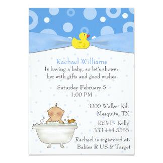"Bubble Bath Baby Boy Shower Invitation 5"" X 7"" Invitation Card"