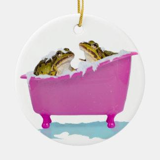 Bubble bath for pet frogs ceramic ornament