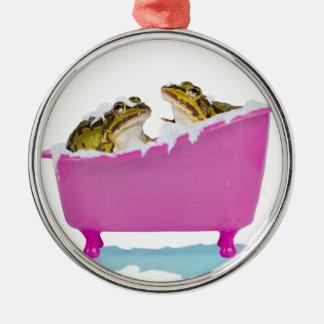 Bubble bath for pet frogs metal ornament