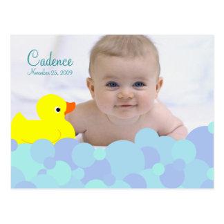 Bubble Bath Photo Birth Announcement Postcard