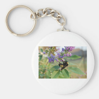 Bubble Bee on Chaste Tree Basic Round Button Keychain